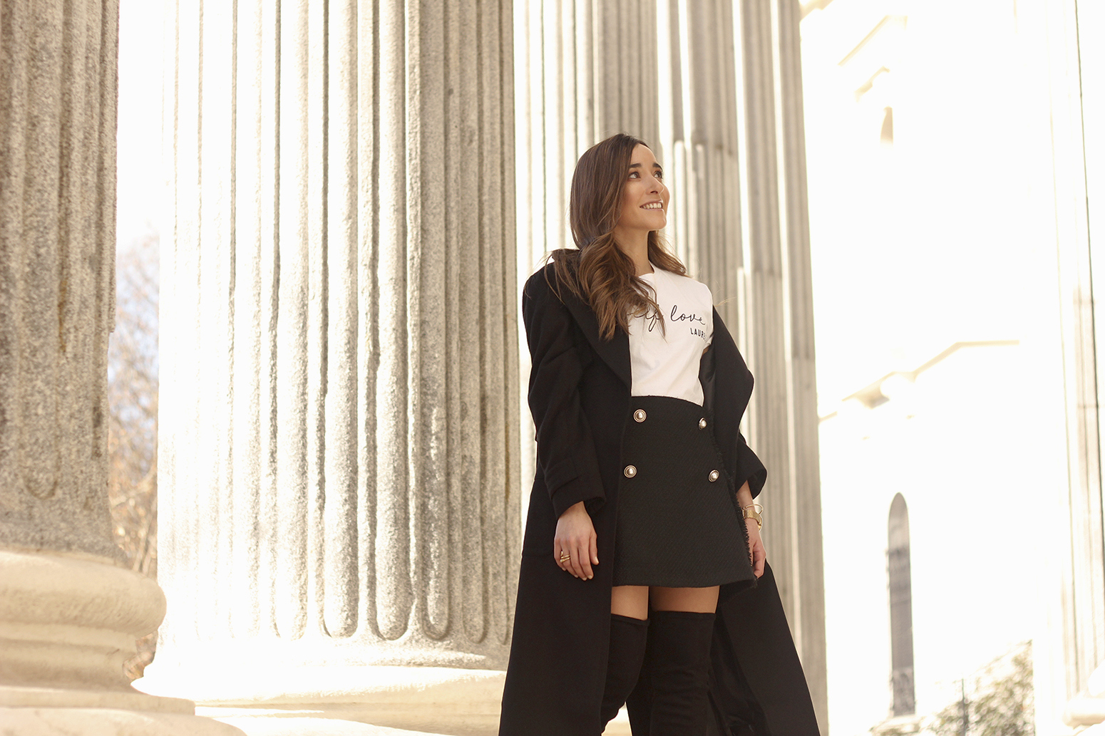 tweed skirt over the knee boots black trench coat street style outfit 201914