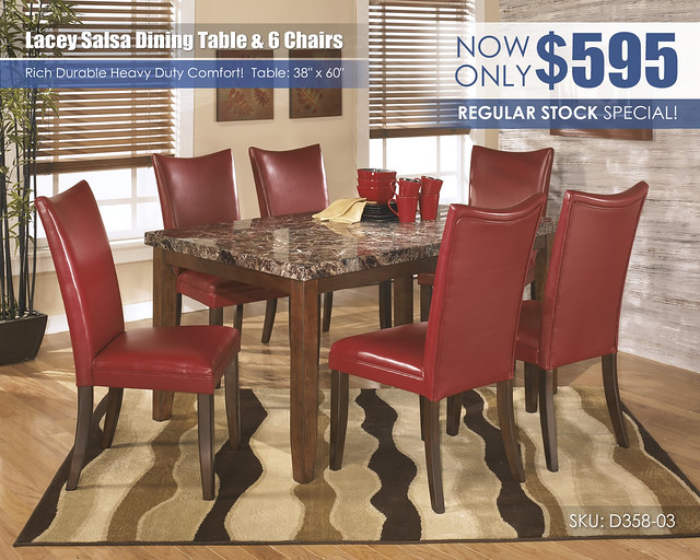 Lacey Salsa Table & 6 Chairs Special_D328-25-D357-03(6)-A-EVR-SD