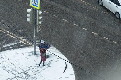 Сильный снегопад обрушился на столицу