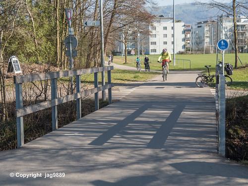 LOR589 Chamer-Veloweg Pedestrian Bridge over the Old Lorze River, Zug, Canton of Zug, Switzerland