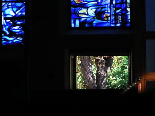 20080830 28579 Jakobus Montbrison Kloster Fenster Baum blau