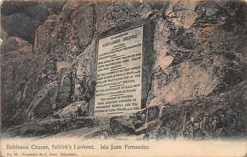 Postcard showing Selkirk's Lookout on Más a Tierra (Juan Fernández Island).