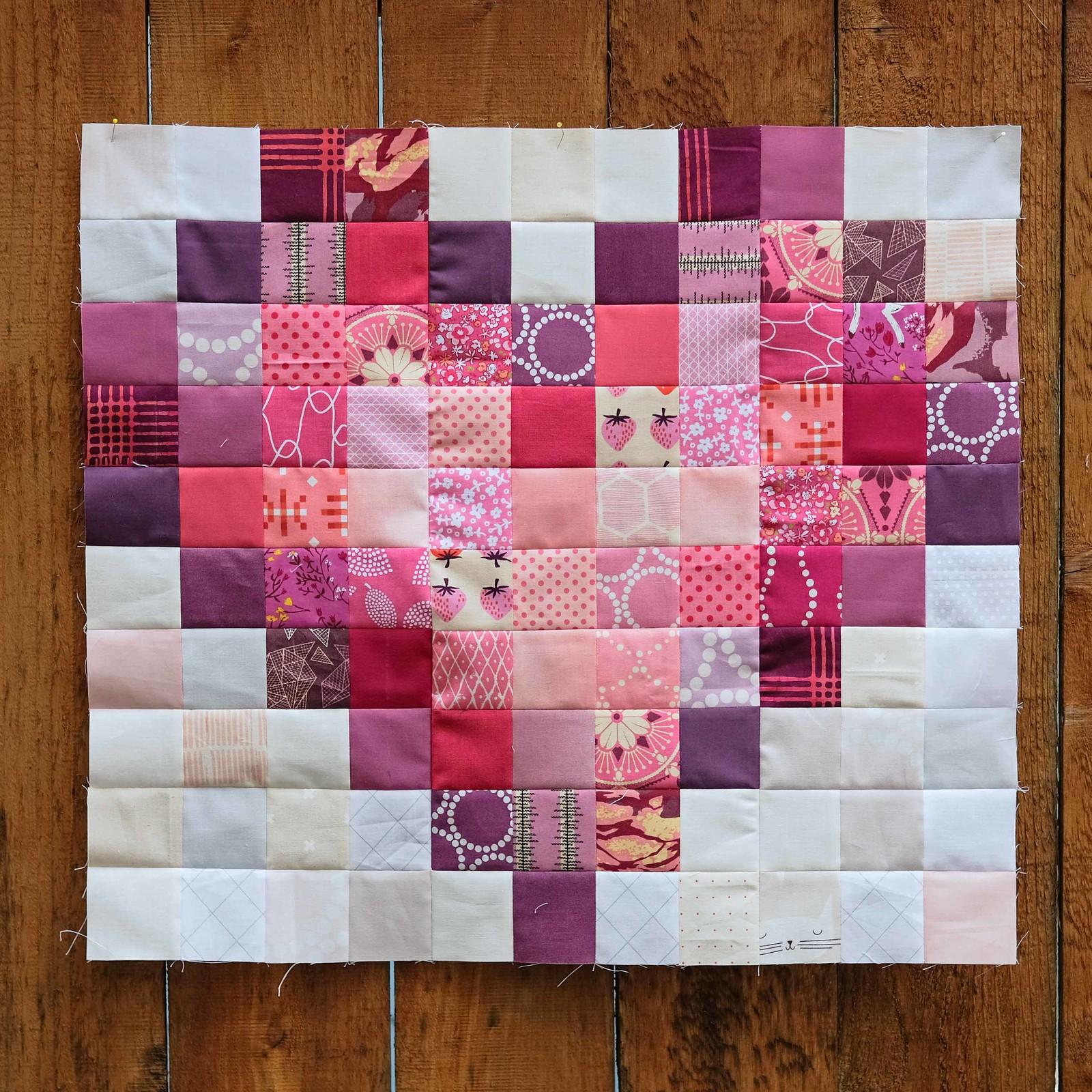 Pixel Heart Quilt Block 1