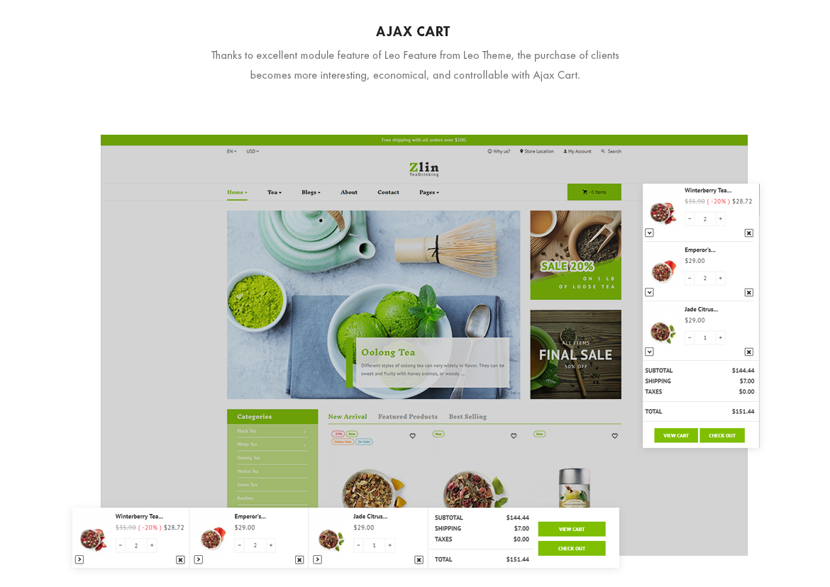 Ajax cart - Leo Zlin - Tea Shop Prestashop theme