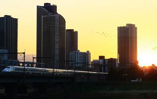 夕陽 新幹線