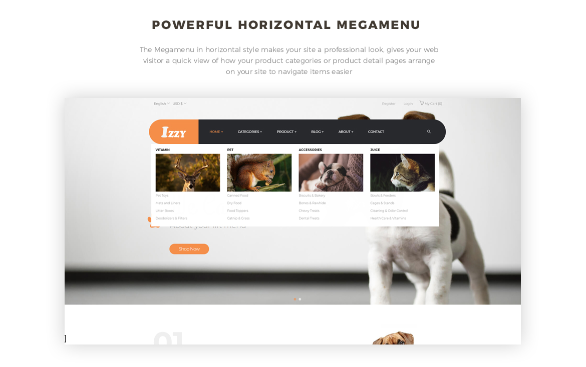 horizonal megamenu - PrestaShop Pet Shop Theme