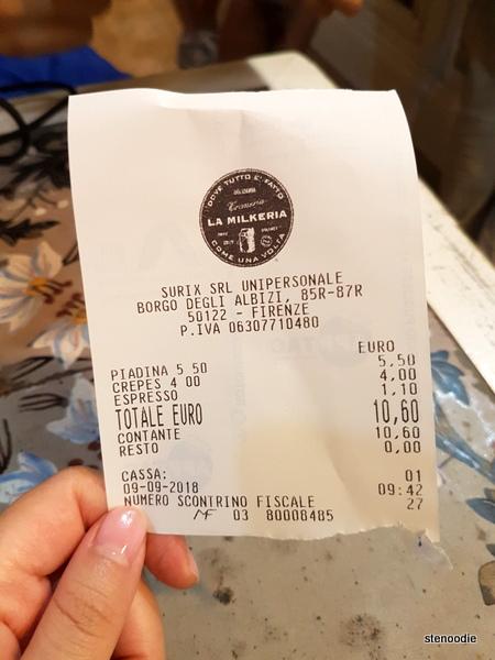 La Milkeria receipt