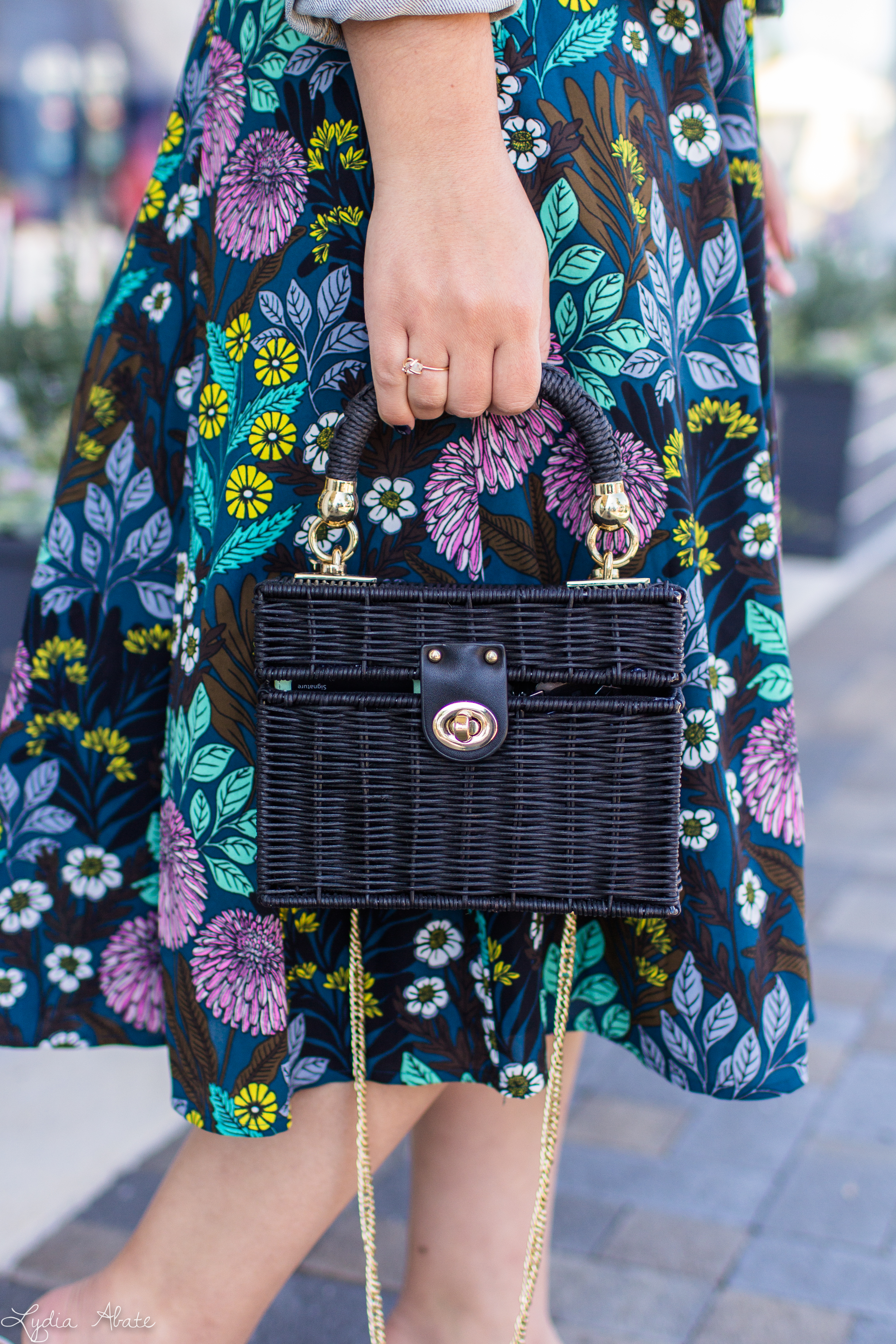floral dress, denim jacket, black straw bag, white mules-12.jpg