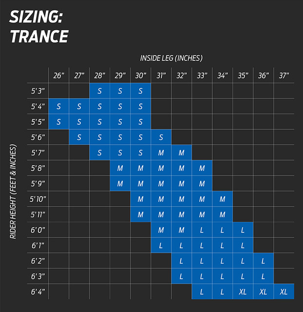 Giant Trance Size Chart