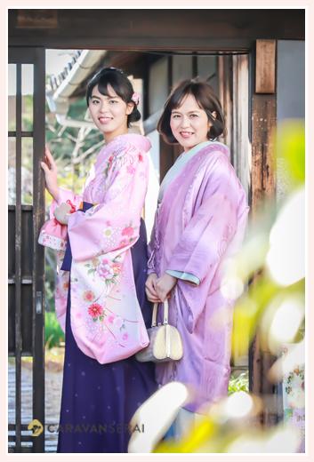 母娘でお着物を着て 久米亭(愛知県瀬戸市)