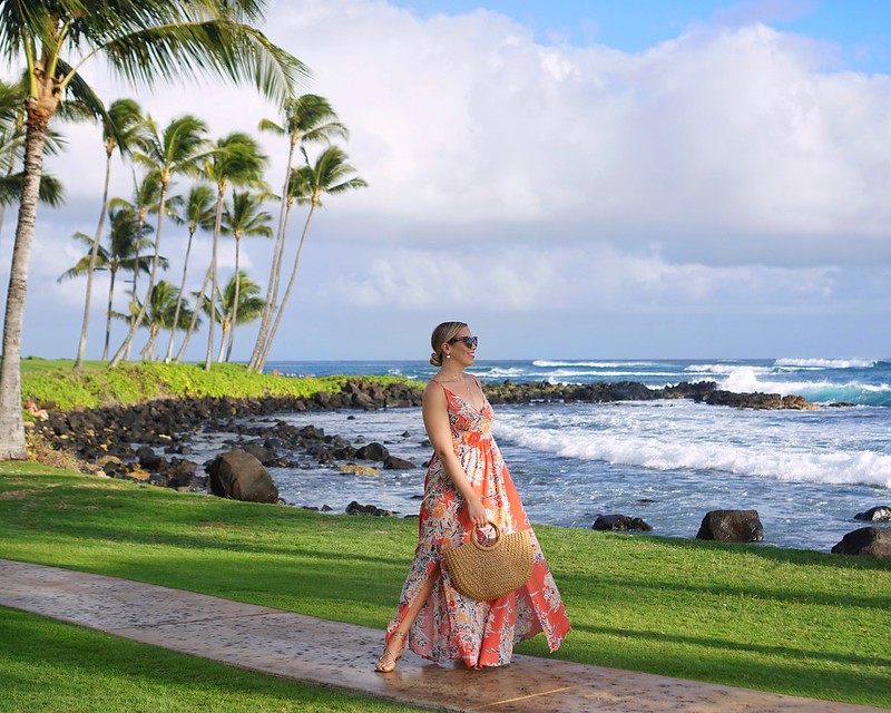 Sheraton Kauai Resort Free People Orange Maxi Dress Hawaii Outfit Inspiration | Kauai Travel Guide