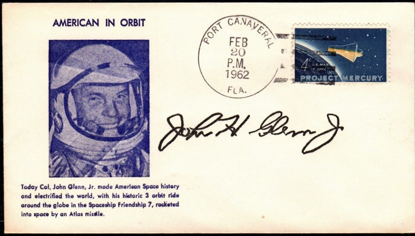 United States - Scott #1193 (1962) first day cover - Port Canaveral, Florida autographed by John Glenn
