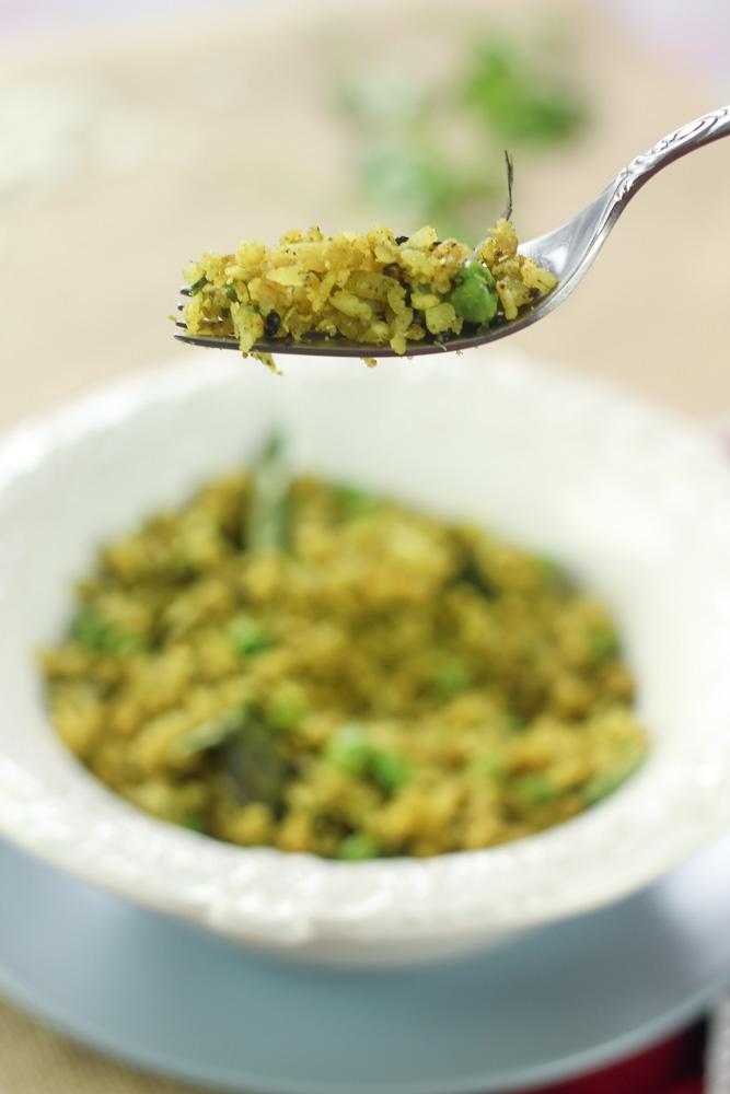 Coriander Matar Poha - South Indian Breakfast