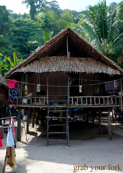 Traditional Moken hut in Au Bon Yai Bay, Surin Island, Khao Lak, Thailand