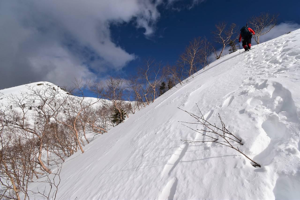 南アルプス烏帽子岳 ラッセル雪山登山