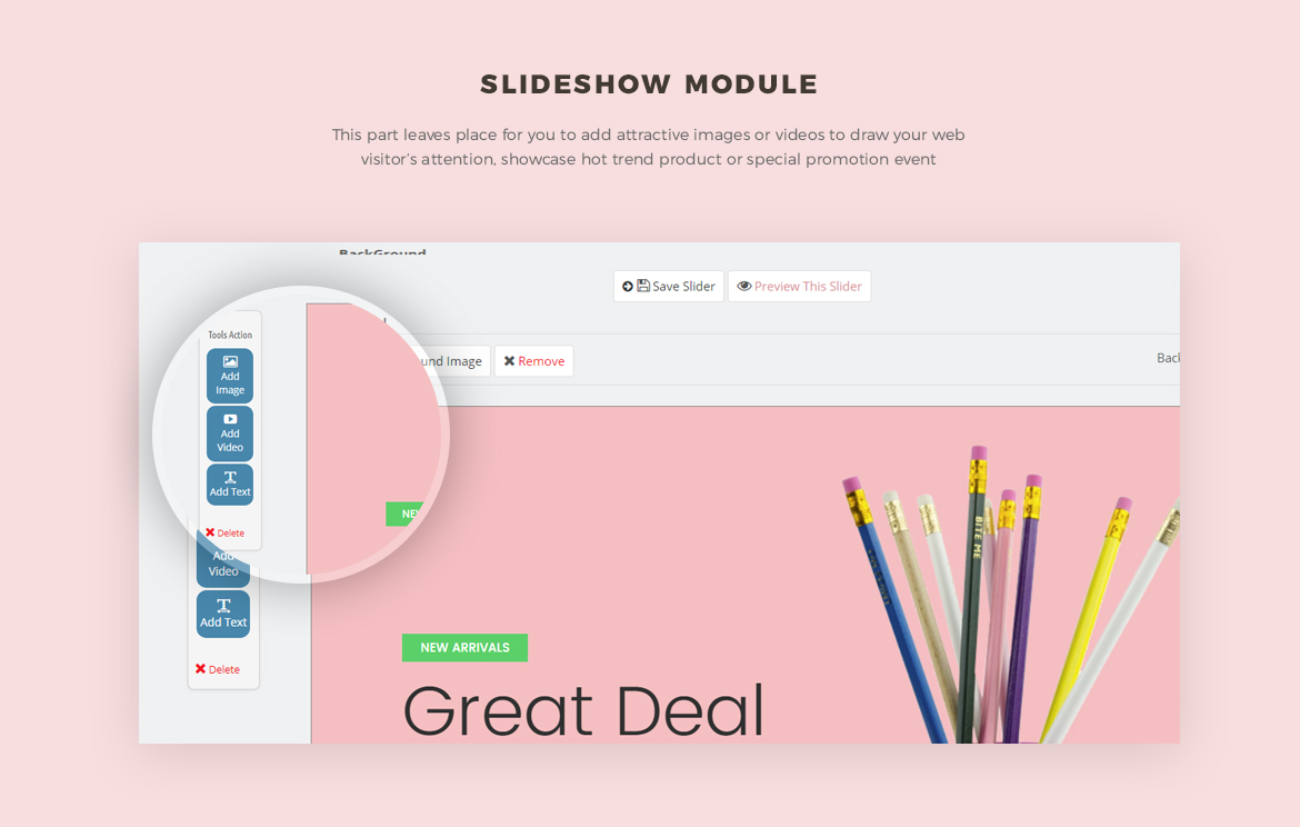 Slide show module - Leo Neons - Stationery Prestashop theme
