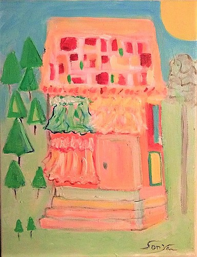 LA CASA COLOR ROSA–THE PINK HOUSE. From Art, Memories, and Poetry: La Bolsa–The Purse, by Sonya Gonzalez