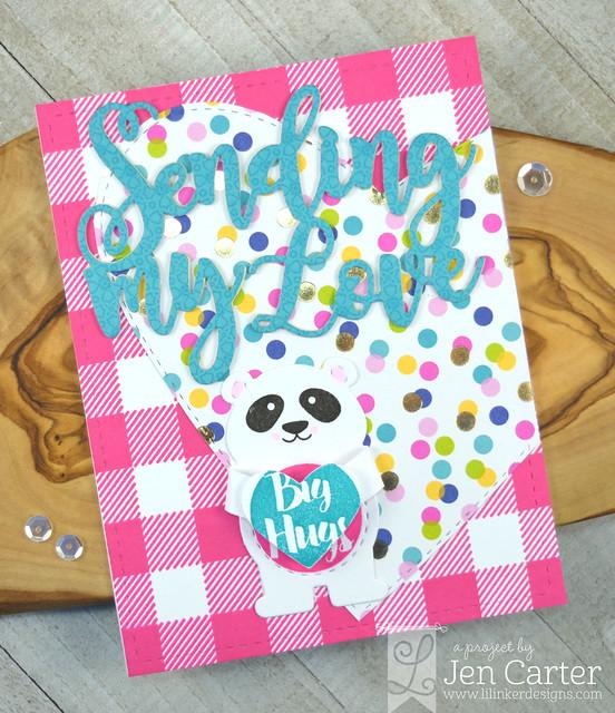 Jen Carter Bear Hugger Sending My Love Forever Heart Layer Cozy Plaid Pink wm
