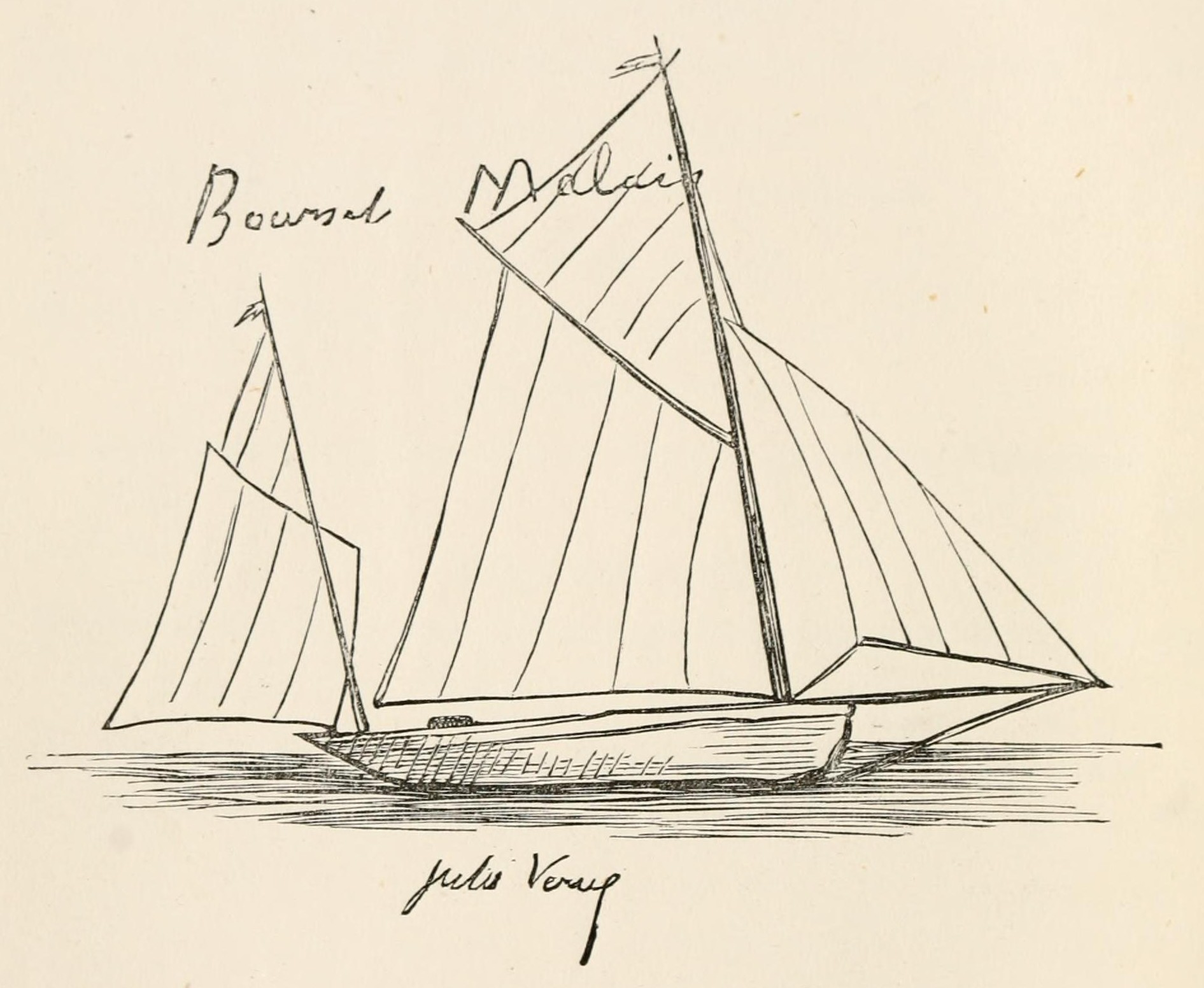 Sketch by Jules Verne of his yacht the Saint-Michel, circa 1873.