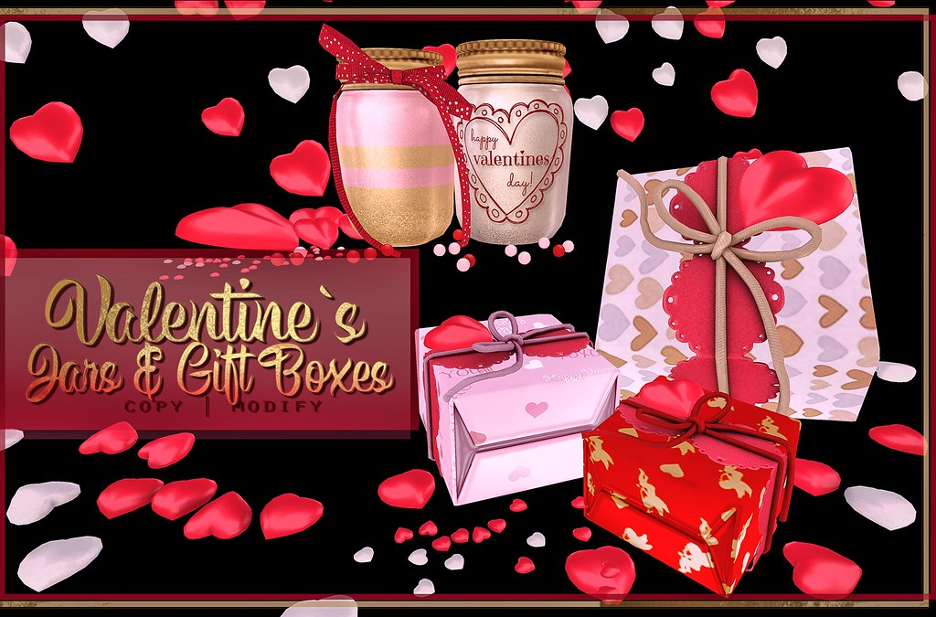 Valentines Jars, Hearts and Gift Boxes