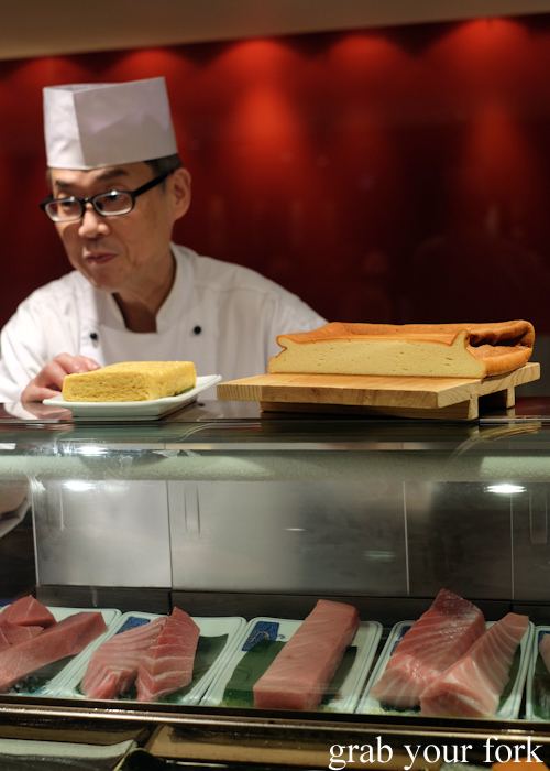 Chef Toshihiko Oe with tamagoyaki rolled omelette and tamago grilled omelette at his omakase at Masuya in Sydney