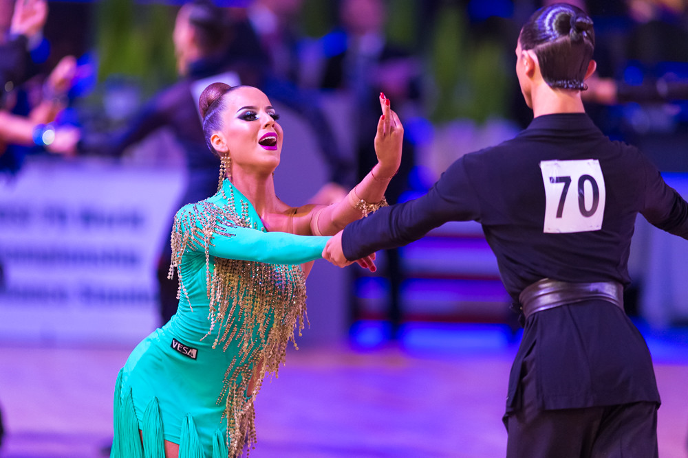 Riga, Latvia-December 16, 2018: Professional Adult Dance Couple Performs Youth Latin-American Program on the WDSF Baltic Grand Prix-2108 Championship in December 16, 2018 in Riga