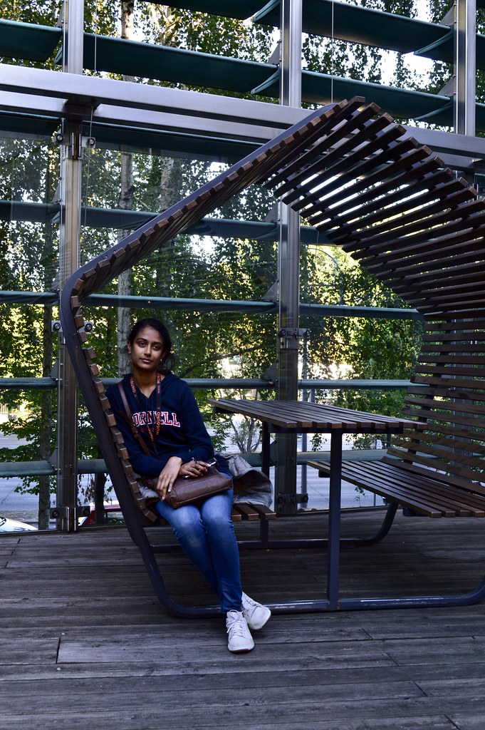 Ami Mehta (B.Arch. '21) relaxes among the seating at the Nordic Embassies in Berlin during a Cornell in Rome trip.  photo / Alp Demiroglu (B.Arch. '21)