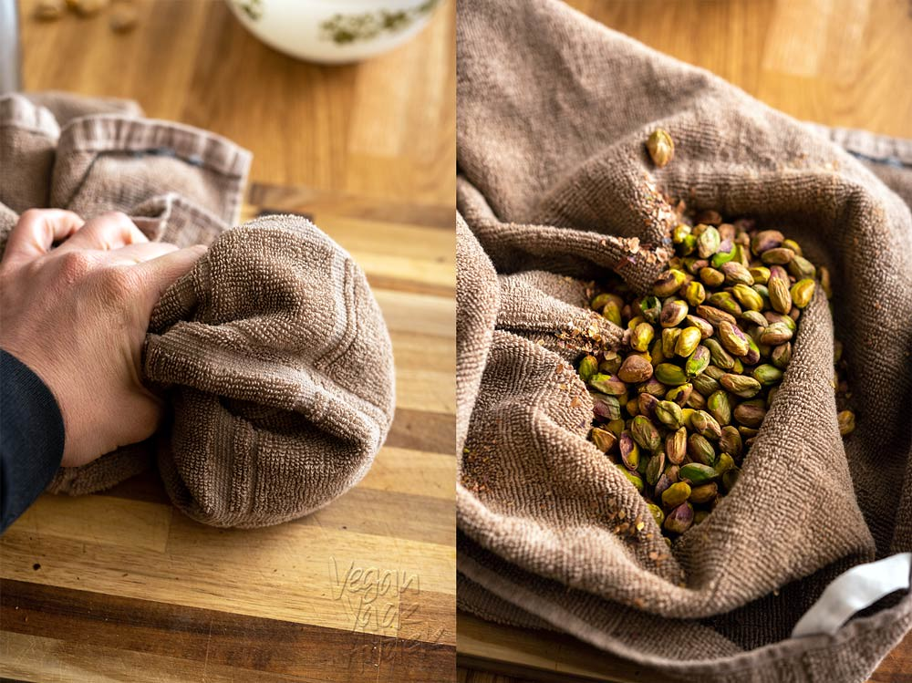 Rubbing pistachios in towel to remove skins
