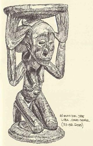 Asiento del jefe Luba. Congo central
