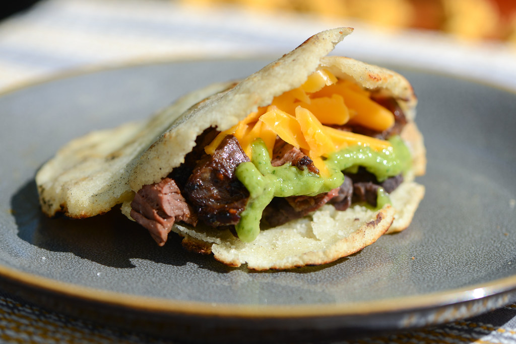Arepas with Skirt Steak, Black Beans, and Cheese