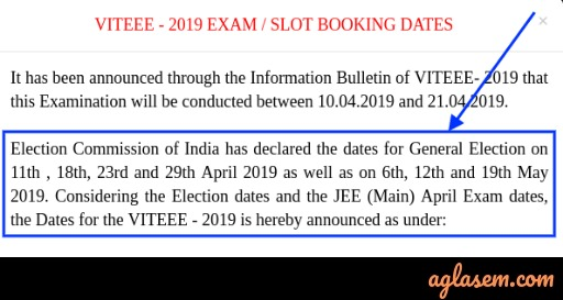 VITEEE 2019 Slot Booking Starting From 28 Mar; City Wise Exam Dates Announced