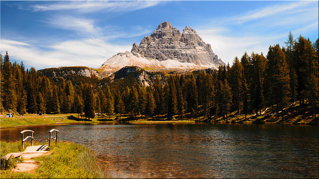 At the  Antorno Lake in the Dolomites - View of the Three Peaks