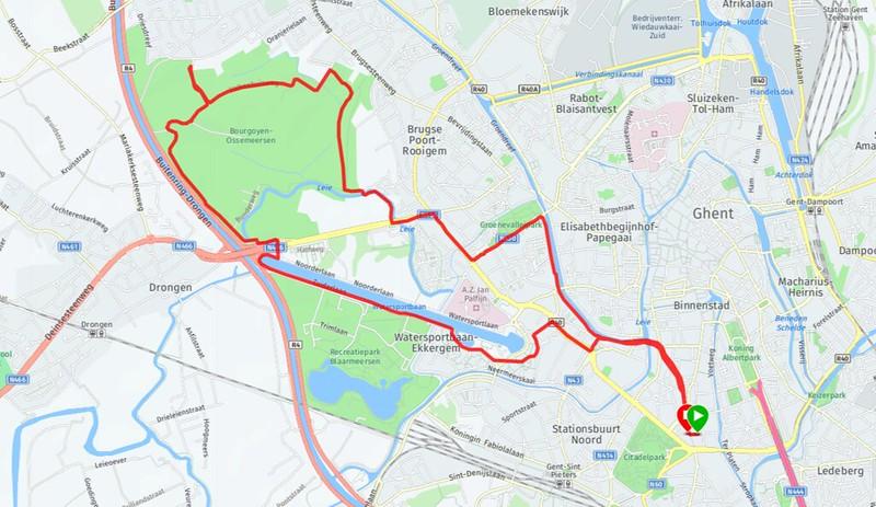 Ruta para correr en Gante. Bourgoyen-Ossemeersen