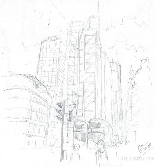 City of London in pencil