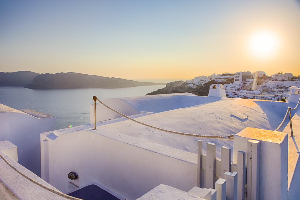 Tranquil Classic White Roofs of Oia Village in Santorini Before The Sunset.