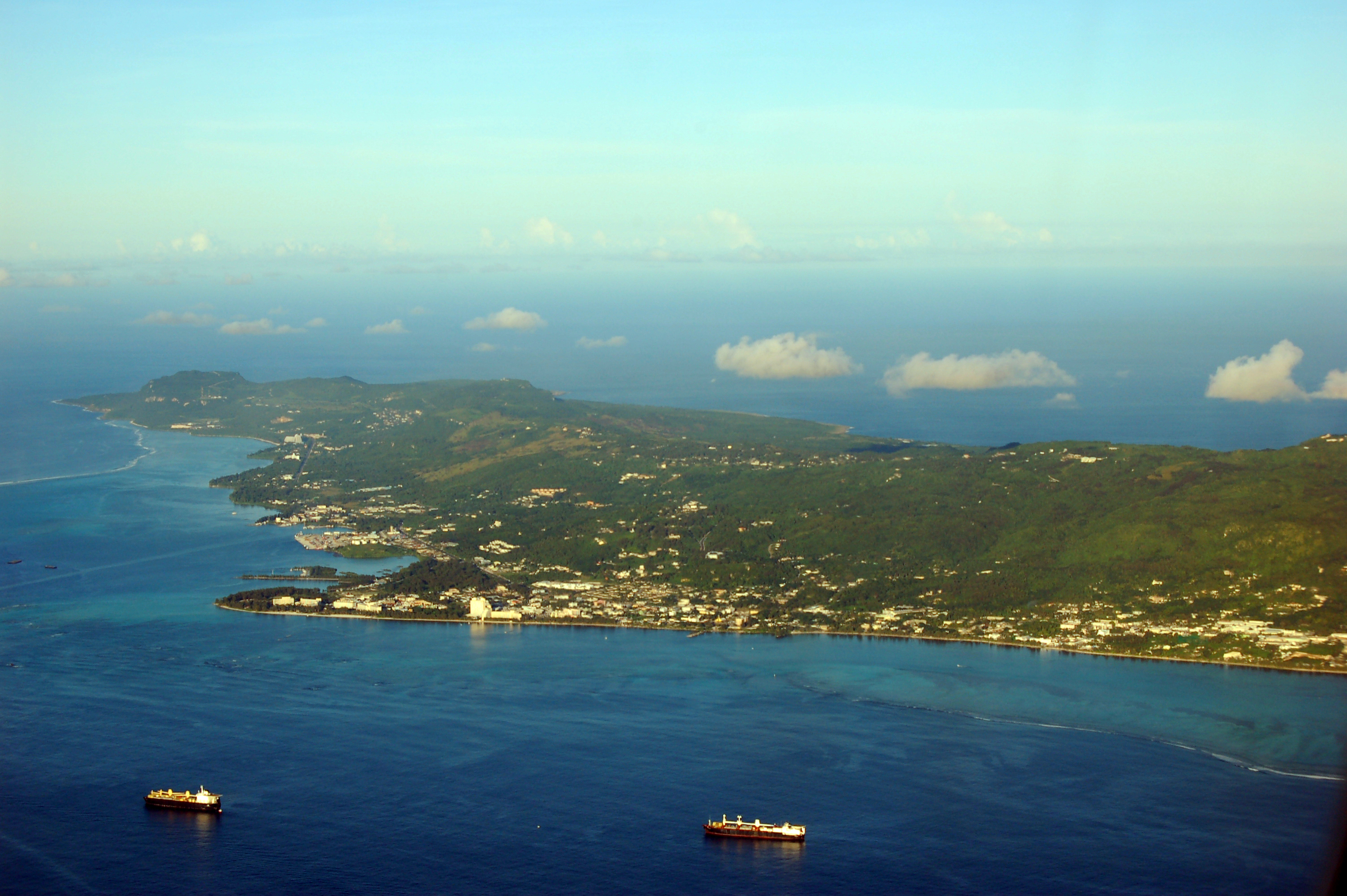 Aerial view of Saipan, Northern Mariana Islands, Photo taken on October 20, 2005.