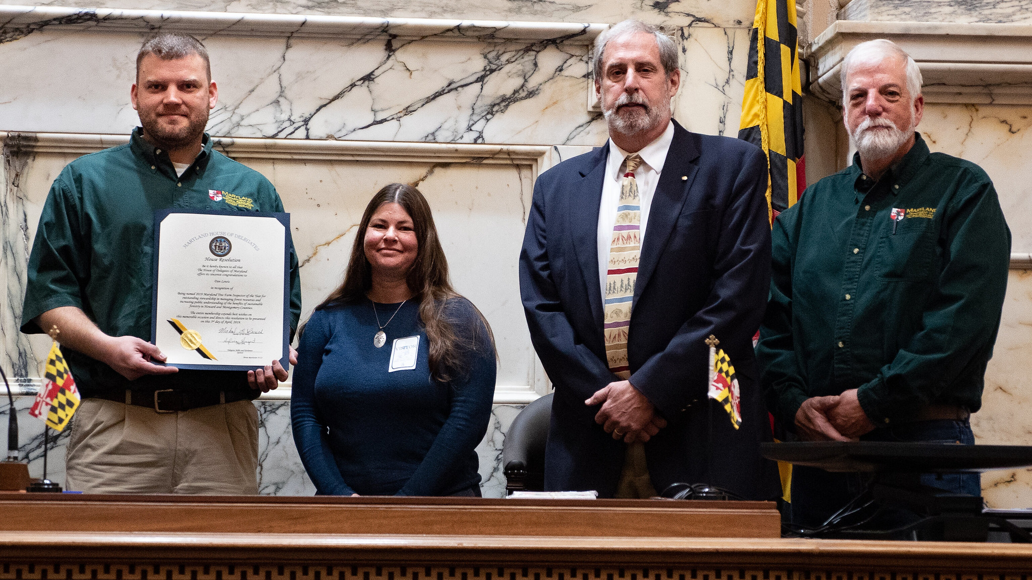 Photo of Tree Inspector of the Year presentation, Arbor Day 2019