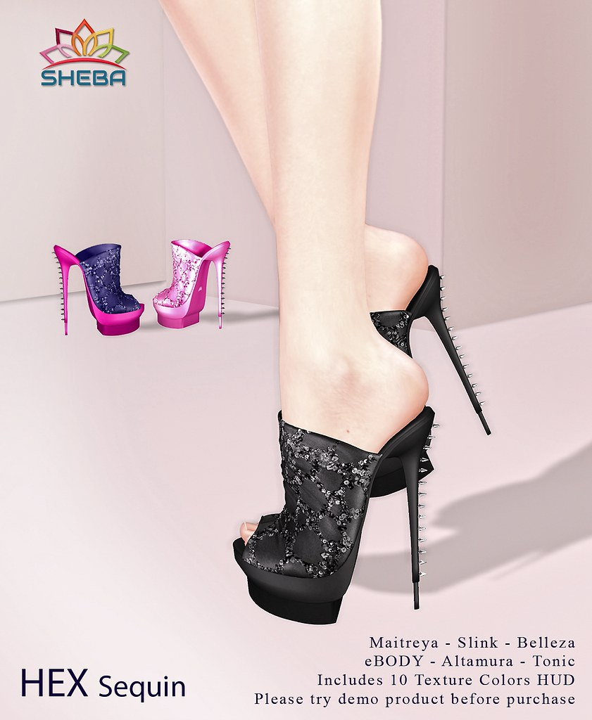 [Sheba] Hex Mules sequin