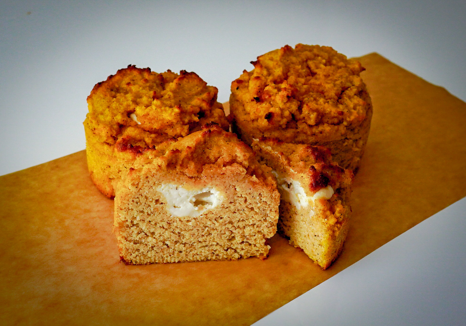 Low Carbohydrate, Healthy Fat Pumpkin Muffins With Cream Cheese Filling