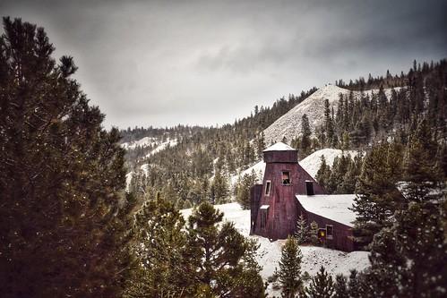snow winter pozomine pinetrees industrial abandoned colorado nevadaville mineshaft mine scenery