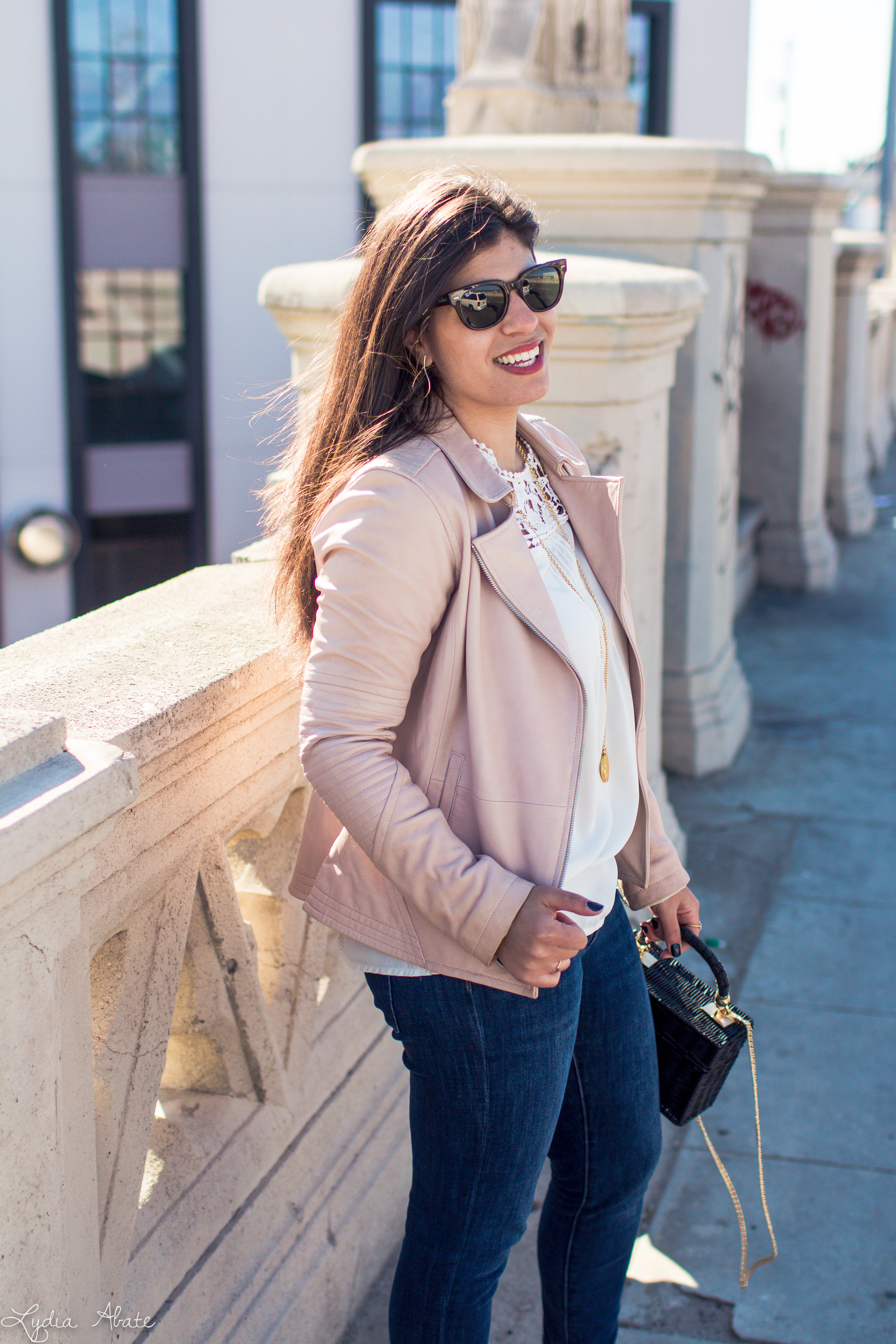 blush leather jacket, white lace trimmed blouse, black straw bag, grey slingbacks-4.jpg