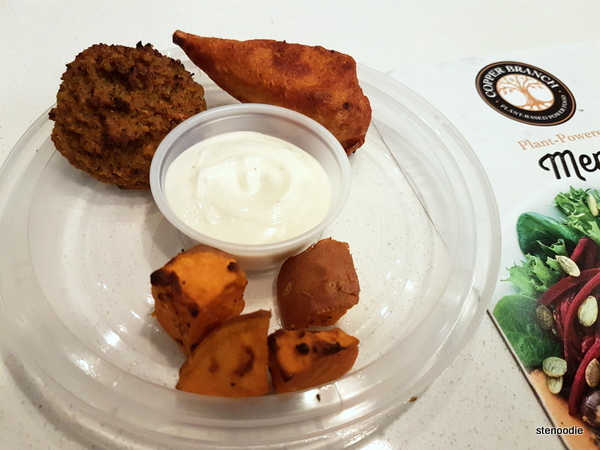 Carrot Keftede, Spicy Buffalo Wing, Sweet Potato Cubes, non-GMO aioli sauce