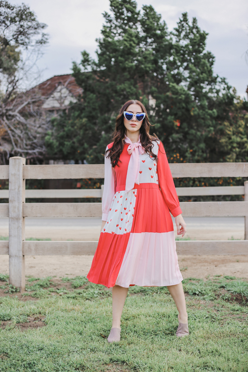 Sister Jane midi dress with pussybow in heart print color block
