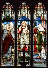 Good Shepherd flanked by Miriam and the widow's mite (Jones & Willis, 1902)