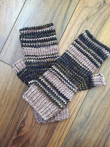 Christina's French Ticking Fingerless Mitts knit with leftover Malabrigo Rios