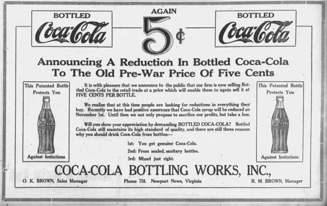 1921 advertisement for Coca-Cola