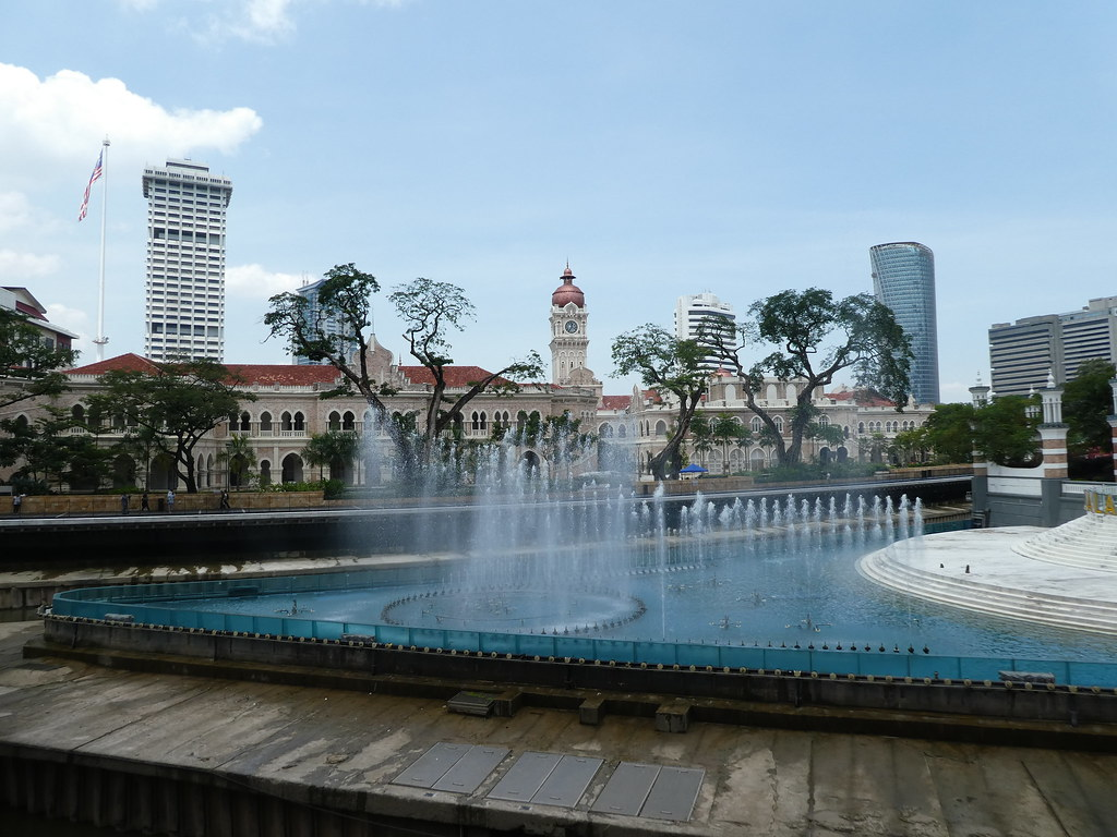 The Blue Pool fountain along the River of Life boardwalk, Kuala Lumpur