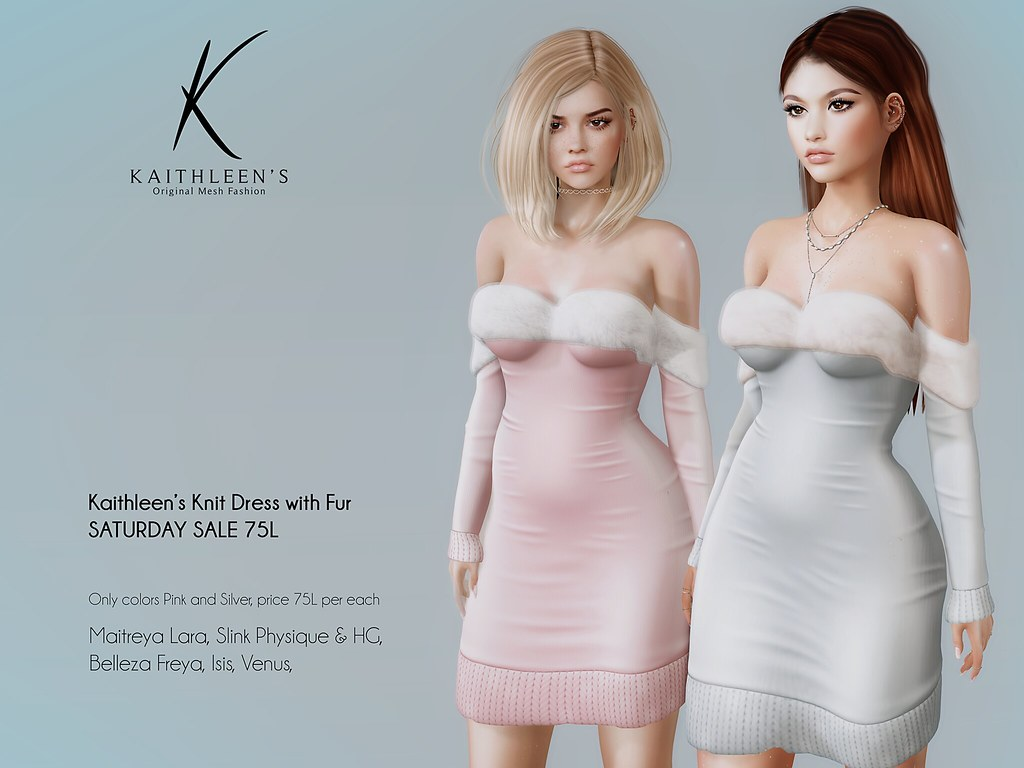 Knit dress with fur @ Saturday Sale!