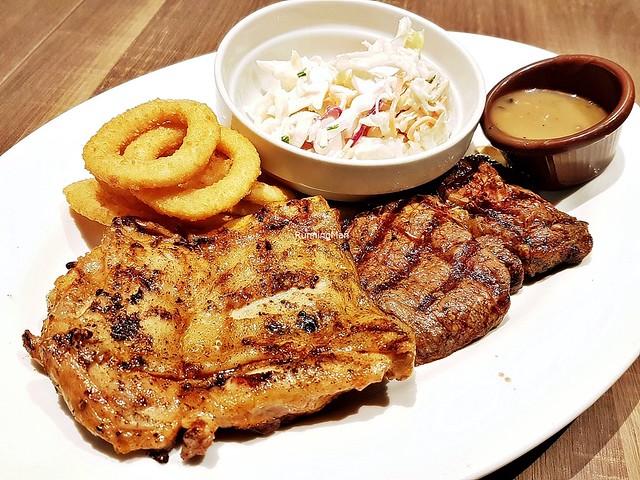 Fiery Chicken & Prime Beef Ribeye Steak With Coleslaw & Onion Rings