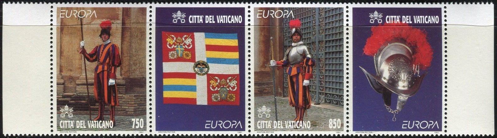 Vatican City - Scott #1039a (1997) strip of 2 stamps + 2 labels
